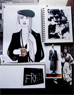 Talenti sul Set 27: Illustrations by Liselotte Watkins of  her favorite Rodebjer items and artworks by Siri Derkert
