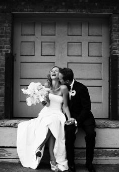 Really cute black and white wedding photo