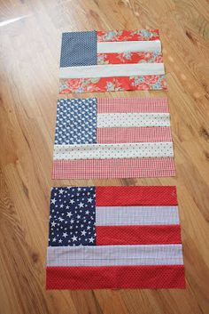 Flag Quilt Blocks - Diary of a Quilter - a quilt blog...Great idea for flags,and a patriotic way to use up some scraps!!..With some trim,these blocks would make great patriotic placemats!!