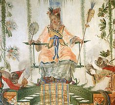 Détail de la Grande Singerie du château de Chantilly, décor de Christophe Huet   Détail du panneau de boiserie avec la dame encensée par deux singes.  Il s'agit probablement d'un pastiche de la scène d'adoration de la déesse Ki Mao Sao peinte par Watteau et gravée par Aubert en 1729. On peut y voir aussi l'allégorie d'un des cinq sens : l'Odorat.