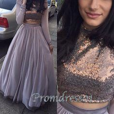 2016 grey chiffon sequins two pieces long prom dress with sleeves, ball gown, modest prom dress