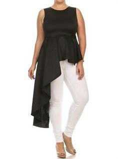 Asymmetrical Black Maxi Shirt