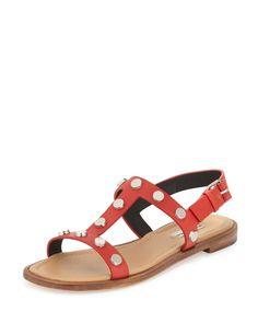 Studded Flat Slingback Sandal, Rouge Fraise
