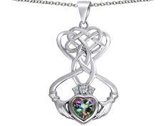 Star K Celtic Knot Claddagh Heart Pendant Necklace with Heart Shape Rainbow Mystic Topaz