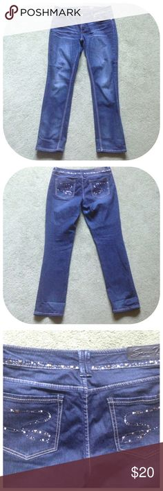 """Seven 7 Size 12 Embellished Skinny Blue Jeans Excellent condition; Across waist - 18"""", Front rise - 9"""", Inseam - 33"""", Leg opening - 8; Cotton, Spandex Seven7 Jeans Skinny"""