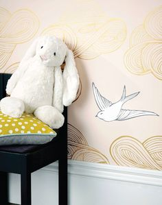 Hand-drawn birds and clouds float in this large scale, modern wallpaper pattern by Julia Rothman for Hygge and West. Available at The Pattern Collective