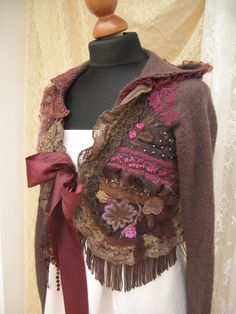 Ornate Romantic hood bolero jacket, shabby chic in browns, hand-embroidered, bead embroidered, reworked, upcycled clothing, Art to wear, by WILDandROMANTIC on Etsy https://www.etsy.com/listing/229903960/ornate-romantic-hood-bolero-jacket