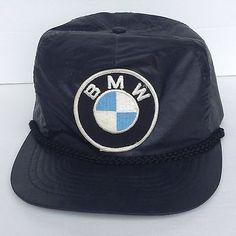 Vtg BMW Black Embroidered Logo Snapback Trucker Hat