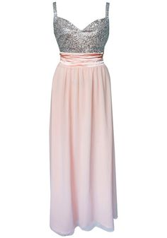 Sequined-Bodice Chiffon Dress
