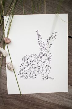 Rabbit Silhouette - Ink Animal Drawing Print - 8 x 10