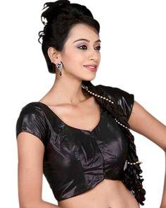 Black Semi Silk Party Wear Saree Blouse X-18