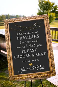 Choose a seat not a side sign, Gold Wedding Decor, Seating sign, Black & Gold…