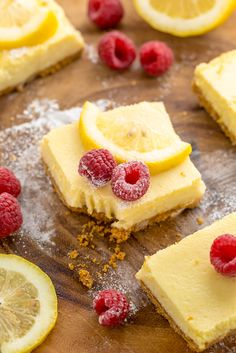 These Lemon Pie Bars are made with lemon juice, lemon zest, and lemon extract, so you know they're loaded with lemon flavor! Sprinkle each bar … Lemon Pie Bars, Lemon Cheesecake, Cheesecake Bars, Rhubarb Cake, Lemon Dessert Recipes, Pecan Cake, Lemon Extract, Flaky Pastry, Mince Pies