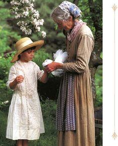 Tasha Tudor in Tree of Life scarf. Can be ordered from Tasha Tudor and Family (http://store.tashatudorandfamily.com/Tasha-Tudor-Style-Attire/Tasha-Tudor-Style-Scarf-Tree-of-Life.html) or from Anoki USA.