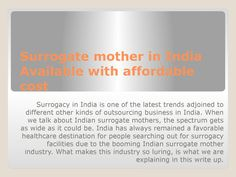 Surrogate mother in india available with affordable cost  Surrogate mother in India  Available with affordable cost