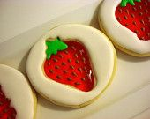 Stained Glass Strawberry Shaped  Decorated Sugar Cookies- (12) One Dozen. $36.00, via Etsy.