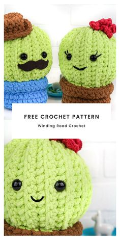 This quick and easy crochet cactus is perfect for summer home decor or as a plushie for kids and babies. Free crochet pattern by Winding Road Crochet. Crochet Cactus Free Pattern, Crochet Daisy, Cute Crochet, Easy Crochet, Crochet Flowers, Crochet Toys, Crochet Patterns, Crocheted Animals, Stitching Patterns