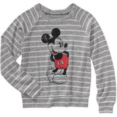 Juniors Hacci Graphic Sweater - Standing Mickey - Disney - Walmart.com