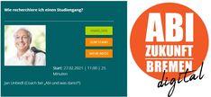 """Die digitale Messe ABI ZUKUNFT läuft vom 25.02. bis 01.03.2021 in Bremen, Hannover und Berlin. Der Beratungsservice """"Abi und was dann?"""" wird ebenfalls vertreten sein. Mit einem virtuellen Stand und dem Vortag: """"Wie recherchiere ich einen Studiengang?"""" - am 27.02.2021, 11.00 Uhr. Coaching, Mathematical Analysis, Bremen, Hannover, Career Guidance Test, Future, Training"""