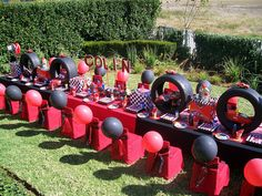 """Disney Cars"" Table Layout by Treasures and Tiaras Kids Parties, via Flickr"