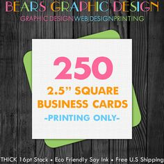 Square business cards printed 500 business cards 25 inches square business cards 250 printed choice of glossy or matte finish and rounded corners reheart Image collections