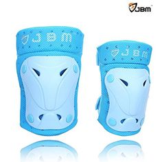 JBM Children Protective Gear Knee Pads and Elbow Pads for Multi Sports BMX Biking, Rollerblades, Scootering Cycling and Others - 3 Colour Options (Baby Blue, Child / Kids)