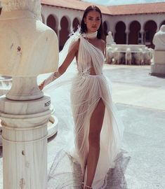 How incredible is this perfectly draped sheer dress by ? Hands up who would wear this Spotted xx . How incredible is this perfectly draped sheer dress by ? Hands up who would wear this Spotted The White Files xx . Greek Style Wedding Dress, Sexy Wedding Dresses, Elegant Dresses, Pretty Dresses, Bridal Dresses, Beautiful Dresses, Wedding Gowns, Prom Dresses, Greek Wedding