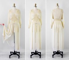 vintage 1930s 30s wedding dress // Antique White Silk Chiffon