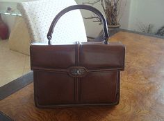 Vintage 1960s Brown Leather Handbag from by SofiasCobwebMuseum..$40