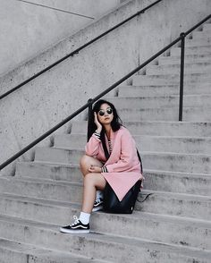 Get this look: http://lb.nu/look/8739203  More looks by Tiffany Wang: http://lb.nu/tiffwang  Items in this look:  Vans Sneakers, Zara Blazer, And Other Stories Bodysuit   #vans #sporty #athleisure #pink #millenialpink #boyfriendblazer