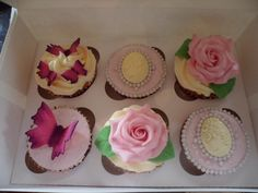 Rose, Butterfly and Cameo themed cupcakes