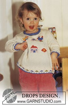 Free pattern: Sweater in Muskat with birds and house.