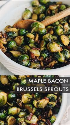 Maple bourbon brussels sprouts are the quick and easy side dish your holiday dinner (or any dinner! Ready in just 30 minutes, these sweet and savory brussels sprouts are blanched, then pan-sea Healthy Side Dishes, Side Dishes Easy, Side Dish Recipes, Healthy Dinner Recipes, Cooking Recipes, Side Dishes With Salmon, Side Dishes For Lamb, Christmas Vegetable Side Dishes, Vegetarian Food