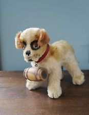 Vintage 1960s STEIFF Standing ST. BERNARD Puppy Dog with Barrel with Squeaker