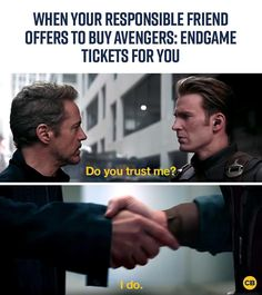 Me accepting the fact that I procrastinate. My responsible friend who's been refreshing Fandango all morning for Avengers: Endgame tickets. Avengers Fan Art, Avengers Quotes, Avengers Imagines, Avengers Cast, Marvel Avengers, Marvel Funny, Marvel Dc Comics, Marvel Heroes, Do You Trust Me