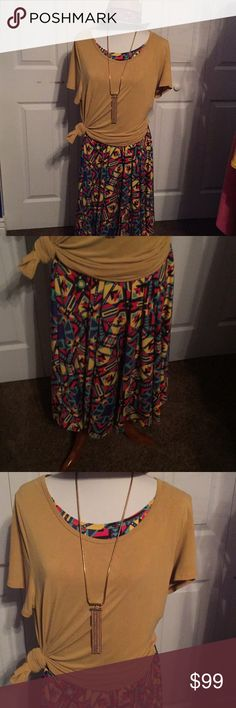 Lularoe NWT Nicole Xl and Classic T xl Gorgeous outfit. Many beautiful bright and cheery colors in super comfortable Nicole and Classic T in mustard.  Wow!!! LuLaRoe Tops Tees - Short Sleeve