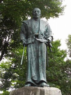 Miyamoto Musashi was the author of the Five Rings, the classic treatise on living the samurai way. This is a statue of him at his grave.