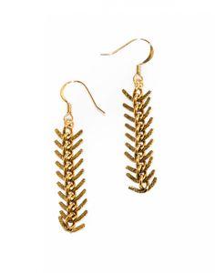 Gold Plated Brass Herringbone Earrings