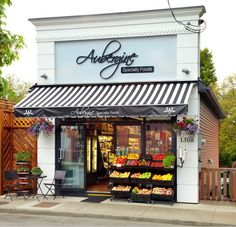 Commercial shop and black and white awning cafe design, store design Design Shop, Coffee Shop Design, Shop Front Design, Cafe Design, Bakery Shop Design, Sign Design, Vegetable Shop, Vegetable Basket, Fruit Shop