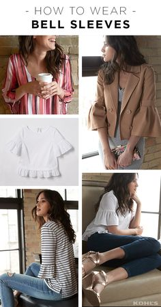 Bell sleeves are going to be everywhere this spring. Whether on a simple t-shirt or a dressy blouse, we love how this embellishment adds interest to every look. Featured product includes: pink striped dress, striped ruffle top; light-wash ripped skinny jeans; bodycon dress; crop bell-sleeved jacket; floral clutch; white ruffle top; and LC Lauren Conrad dark-wash jeggings and wedges. Slip into spring in style with Kohl's.