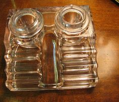 Depression glass inkwell & penstand w/ original paragon ink bottles