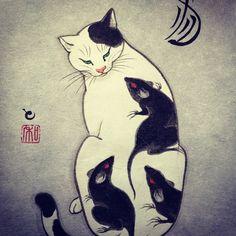 Tattoo cat by Horitomo.