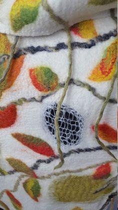 Big long very warm winter scarf with leaves, handmade and unique nuno felt silk wool shawl, gift idea for Thanksgiving day Nuno Felt Scarf, Handmade Scarves, Silk Wool, Nuno Felting, Wool Felt, Om, Leaves, Winter, Clothing