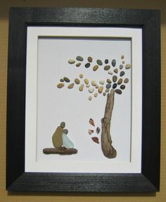pebbles, driftwood, sea glass, polymer clay, wooden frame, canvas, mat