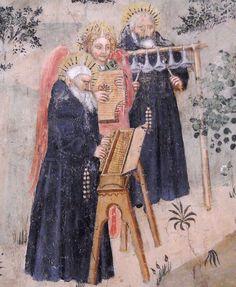 """Musician Monks with arpicordo, hand-bells and psalter"" - Fresco by Perrinetto da Benevento, after 1438 - Naples, Church of San Giovanni a Carbonara Renaissance Music, Medieval Music, Medieval Art, Medieval Manuscript, Illuminated Manuscript, Motif Music, Ancient Music, Early Music, San Giovanni"