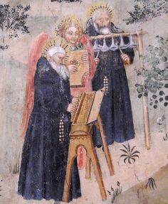 MusicArt Cimento di monaci con arpicordo e campane (e salterii angelici), Perrinetto da Benevento, dopo il 1438. Napoli, San Giovanni a Carbonara.