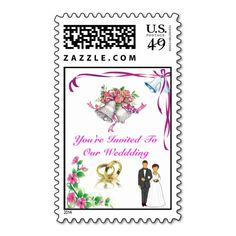 You're Invited to a Wedding. Postage Stamp