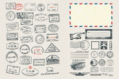 Vector Passport and Postage Stamps