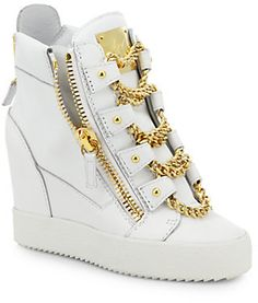 df537f76e533 Giuseppe Zanotti Chains Leather Wedge High-Top Sneakers High Top Tennis  Shoes