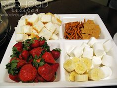 Chocolate Fondue: strawberries, sub brownie bites for pound cake, pretzles, marshmallows, banana and graham grackers